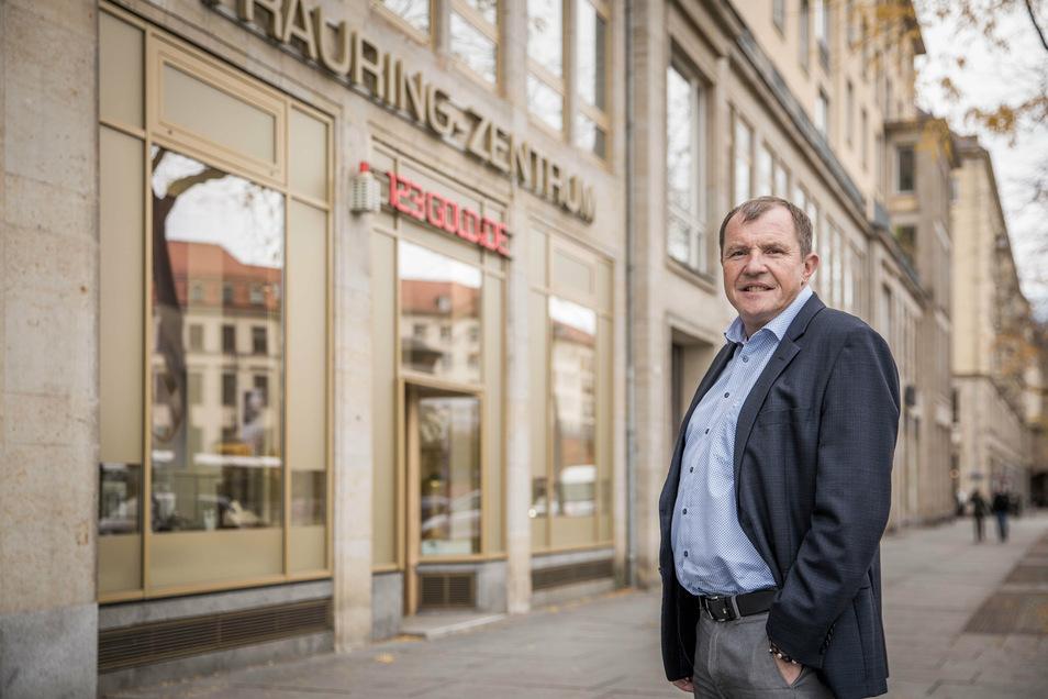 Trauringhändler Andre Havlik hat sein Trauring-Zentrum 2012 auf der Wilsdruffer Straße 5 eröffnet. Seitdem verödet der Standort langsam.