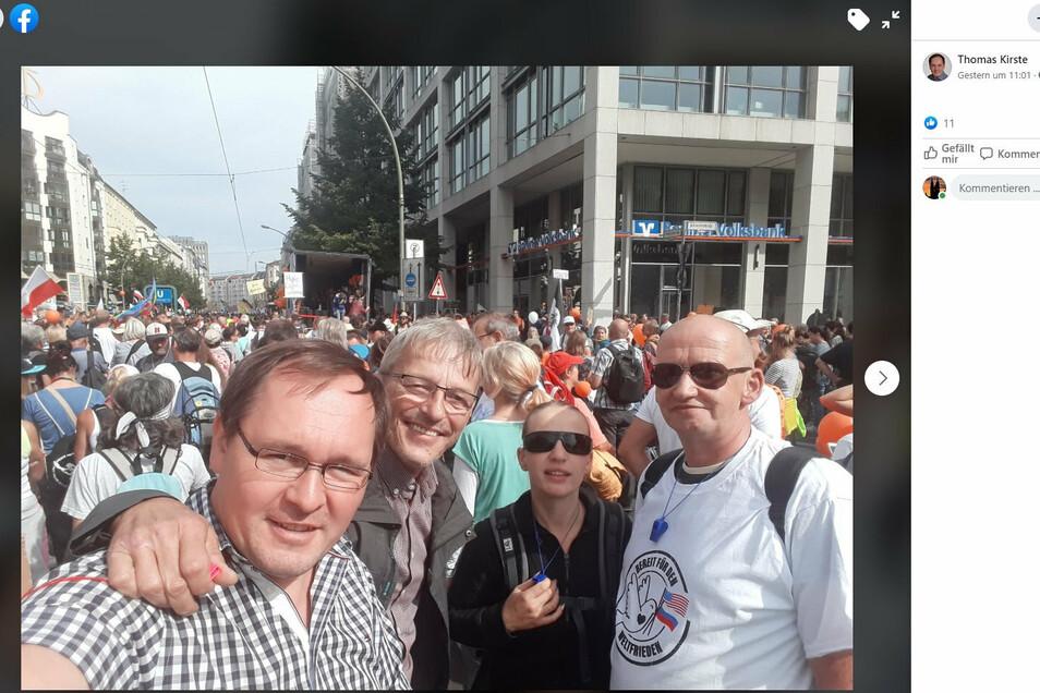 Mit Meißner Parteifreunden hat der AfD-Landtagsabgeordnete Thomas Kirste am 29. August 2020 die Corona-Demonstration in Berlin besucht.