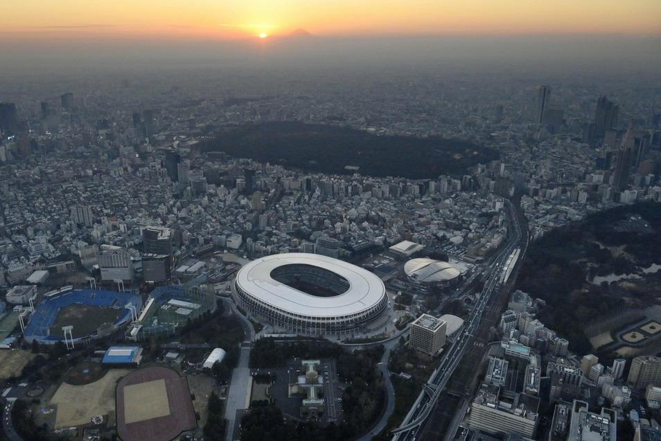 Im Nationalstadion in Tokio sollen am 23. Juli die Olympischen Spiele eröffnet werden.