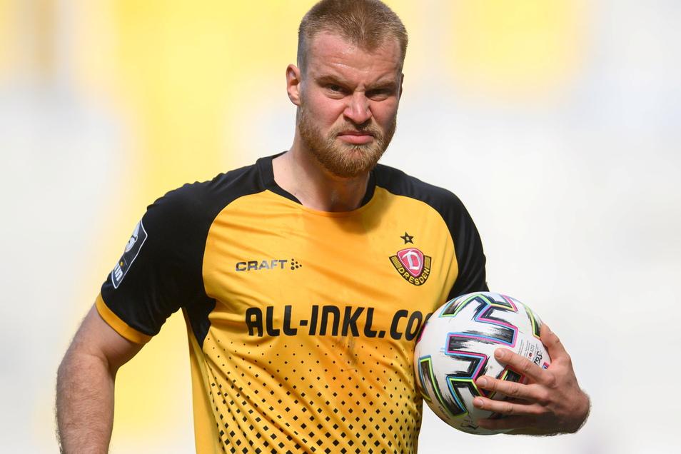 Grimmig guckt er drein, Dynamos Kapitän Sebastian Mai. Gehen seine Spieltagstipps am Wochenende auf, dürfte sich das schnell ändern.