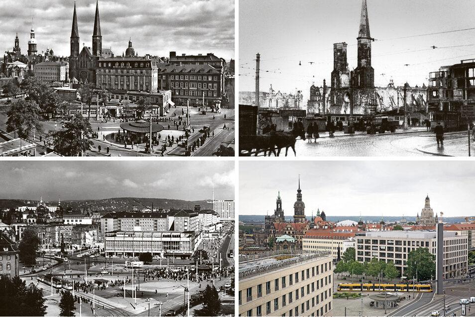 Der Postplatz in Dresden von ca. 1935 bis heute.