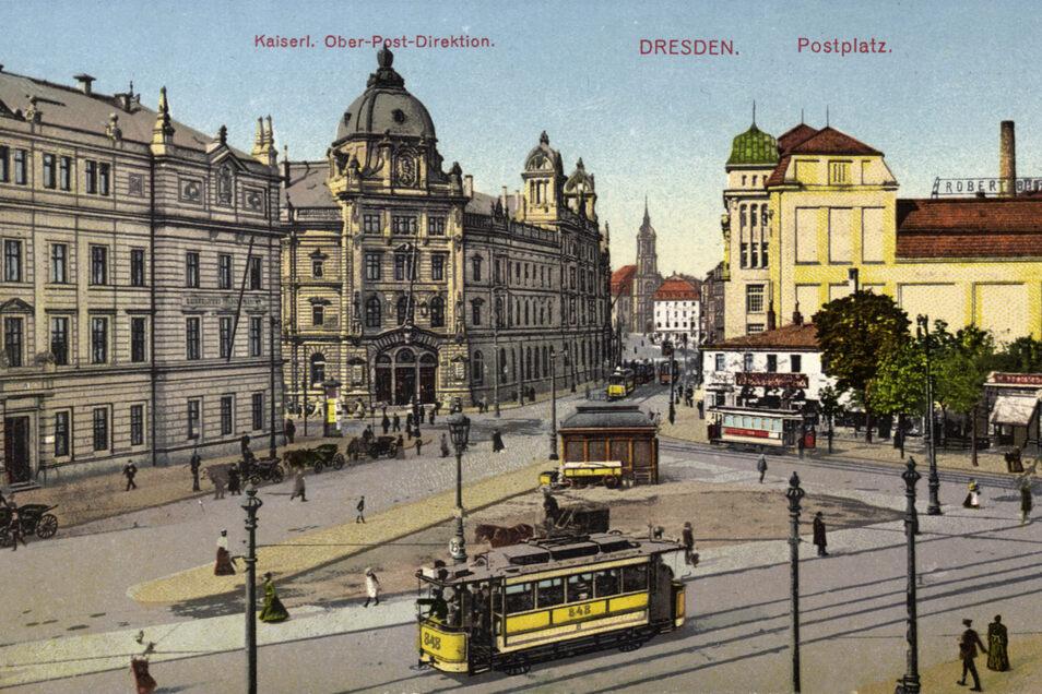 Postbauten dominierten einst den Postplatz. Markant sticht auf dieser Postkarte von 1910 die Oberpostdirektion heraus. In dem Komplex waren später auch das 1928 gebaute Telegrafenamt und das Hauptpostamt Dresden 2.