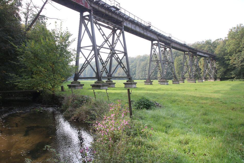 Das denkmalgeschützte Viadukt über das Pulsnitztal bei Königsbrück rostet still vor sich hin. Einst galt es als bedeutsame ingenieurtechnische Leistung.