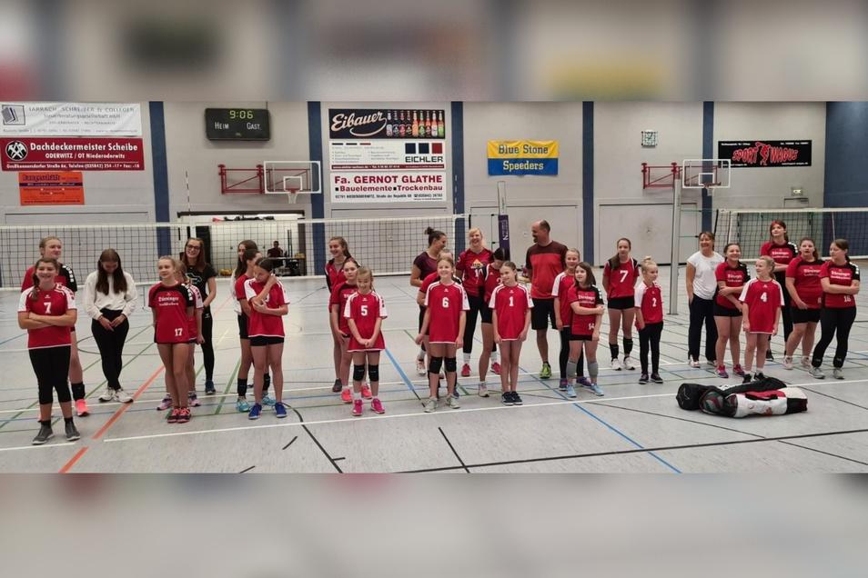 Die Mannschaften der Herrnhuter Volleyfanten bei einem vereinseigenen Turnier.