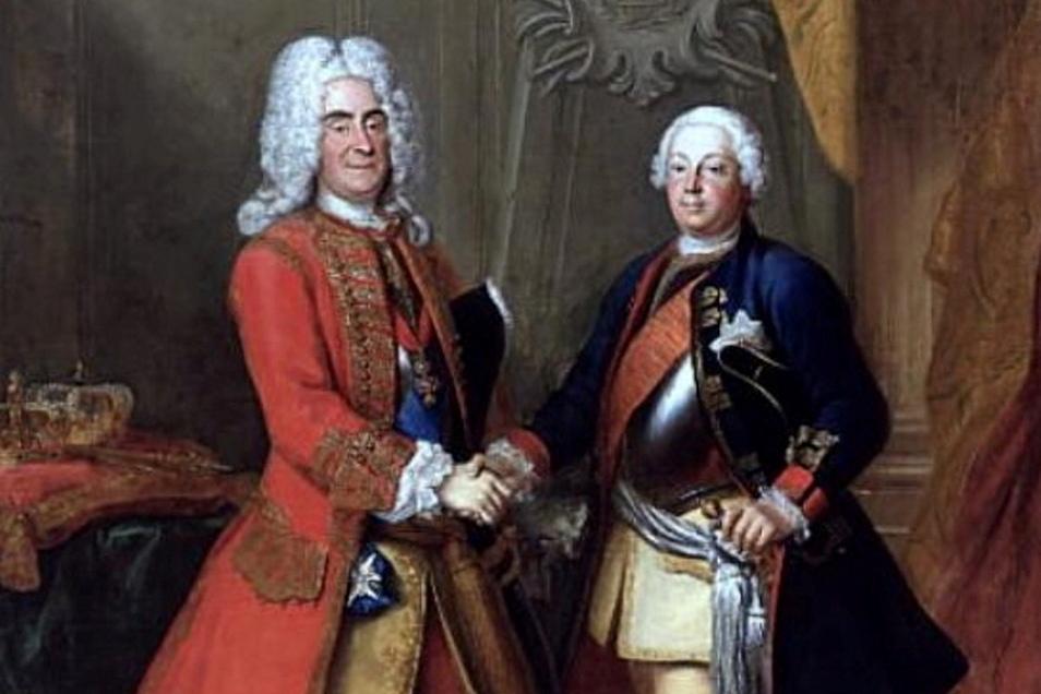 """August der Starke empfängt den """"Soldatenkönig"""" Friedrich Wilhelm I, von Preußen."""