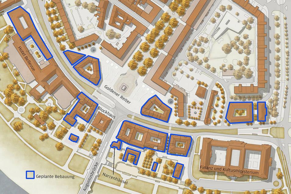 Die blau markierten Gebäude auf der Karte zeigen die geplanten Häuser am Neustädter Markt und am Königsufer.