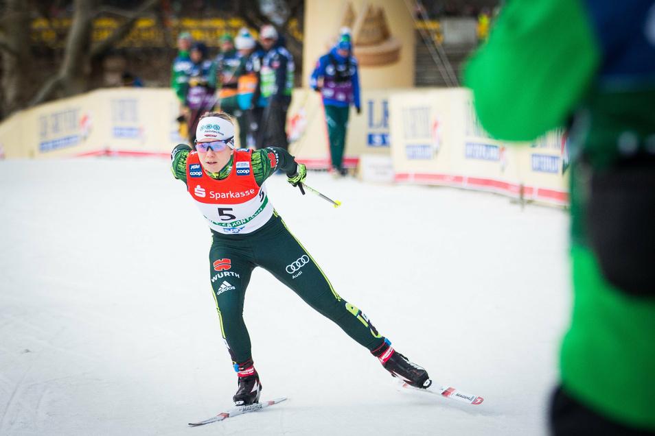 Langläuferin Nadine Herrmann beim Sprint am Elbufer im Januar dieses Jahres.