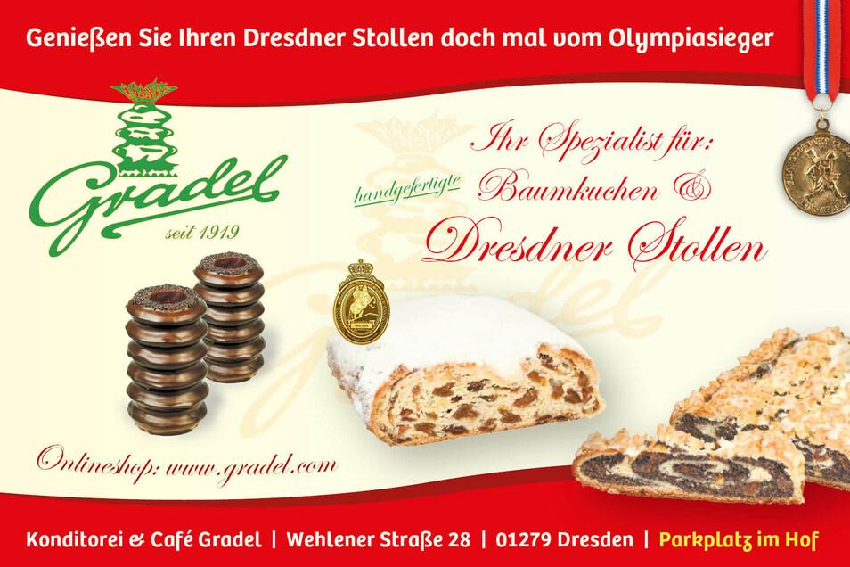 Den heutigen Tagespreis, einen original Dresdner Christstollen, stellt die Bäckerei Gradel.