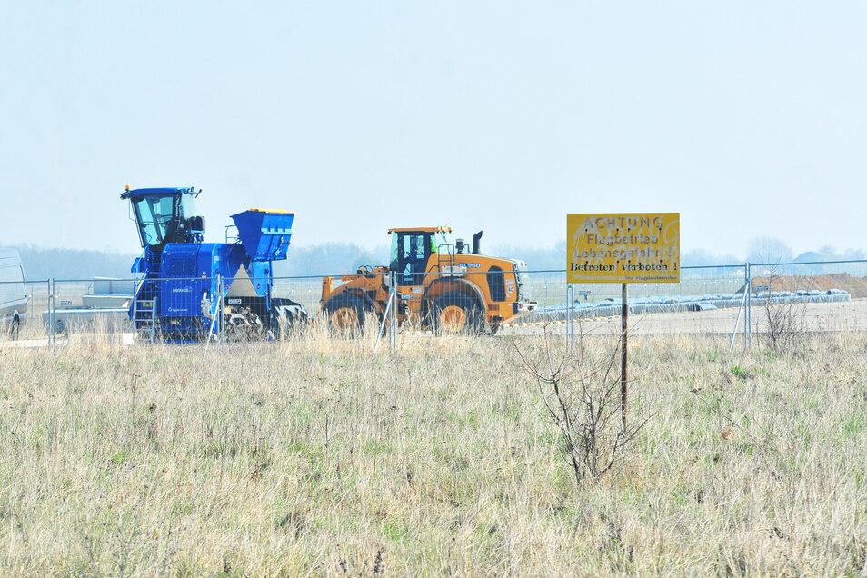 Auf einem früheren Teilstück der Landebahn wurde der Erdaushub für die Bodenreinigung gelagert.