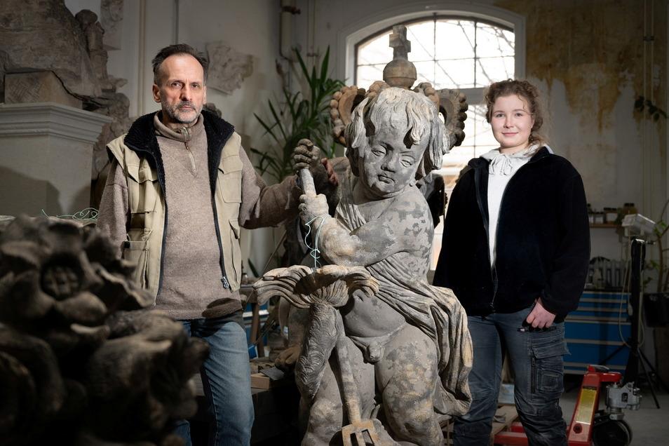 Hans-Christoph Pampel und Lydia Zbanek sichern mit ihrer Arbeit für die Zwingerbauhütte den Erhalt der barocken Pracht.