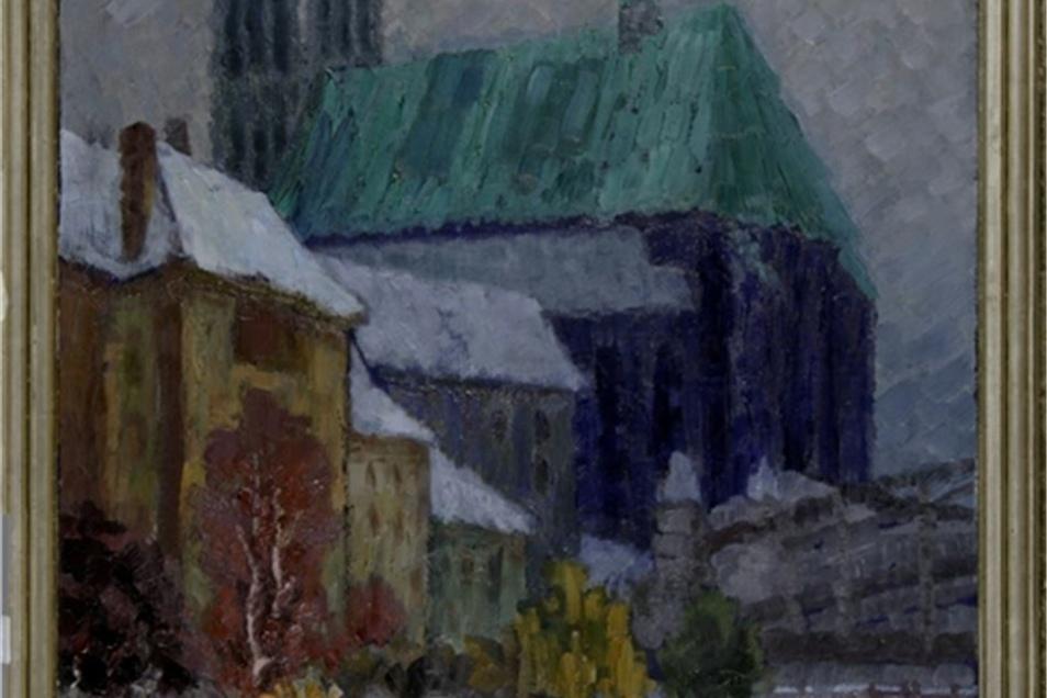 """1914 malte der Expressionist Fritz Neumann-Hegenberg die Görlitzer """"Peterskirche im Winter""""."""