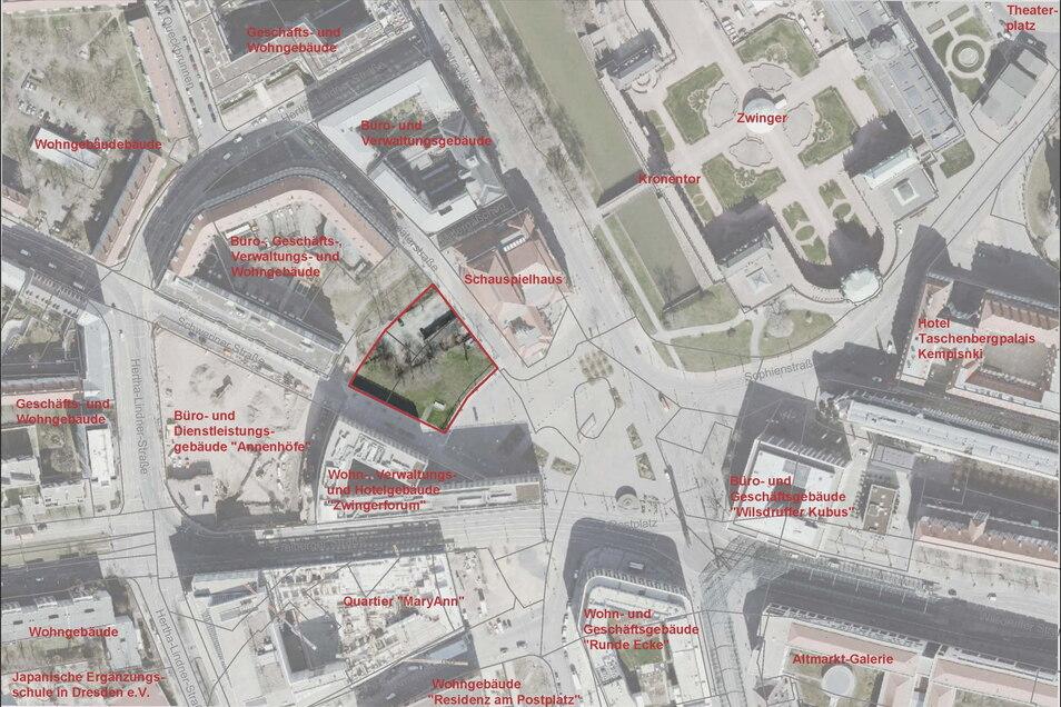 Dieses Bild der Landeshauptstadt zeigt von oben, um welche Fläche es sich am Postplatz handelt.