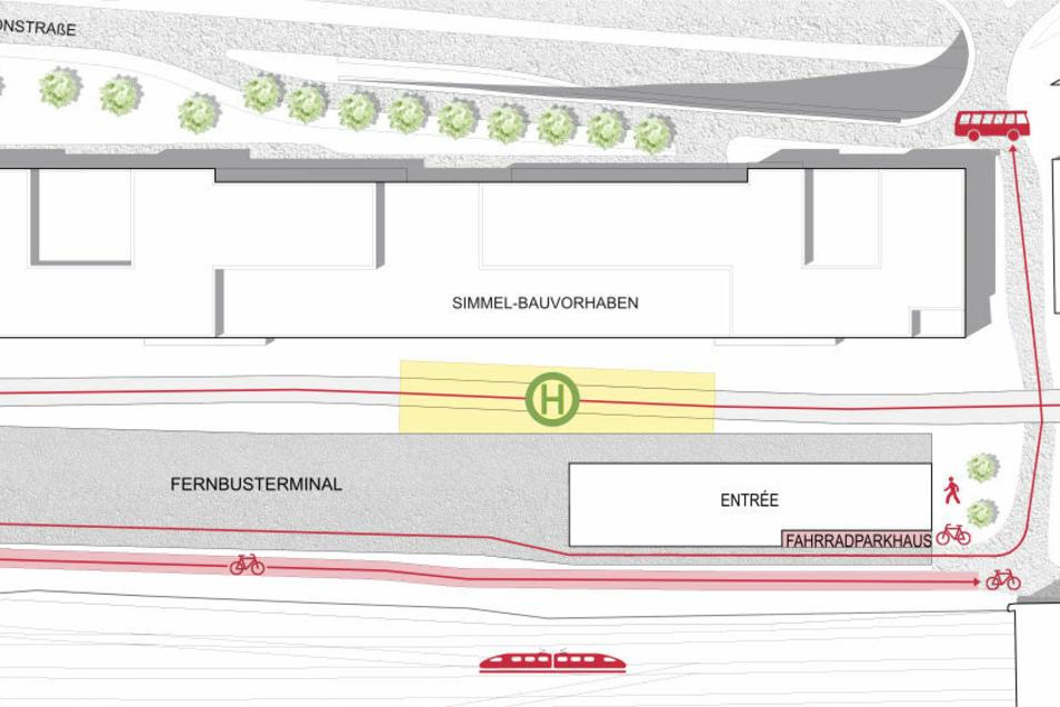 Einfahren sollen die Busse über die Rampe zur Budapester Brücke. Die Ausfahrt befindet sich über der Einfahrt zum Wiener Tunnel. Zwischen Simmelhaus und Fernbushalt ist eine weitere Straßenbahnhaltestelle geplant.
