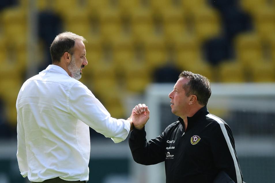 Die Größenunterschiede der Trainer entsprechen in etwa auch der individuellen Qualität beider Mannschaften. Stuttgart mit Pellegrino Matarazzo ist Dynamo und Markus Kauczinski deutlich überlegen.
