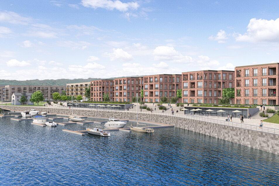 Wohnen an der Promenade, flanieren am Wasser: Die Dresdner Hafencity wächst. Der Bau der markanten fünf Stadtvillen hat nun begonnen.