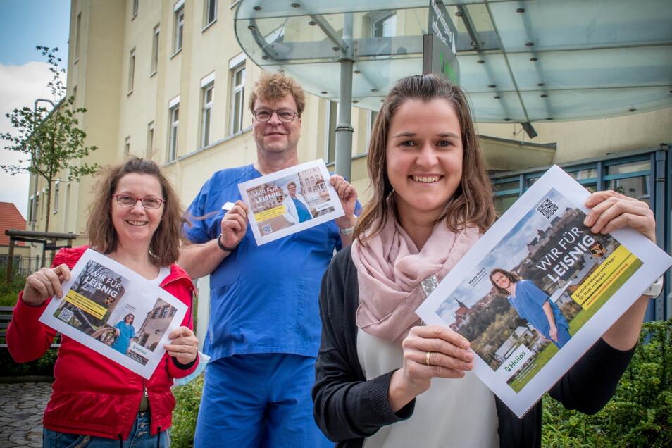 Pflegedirektion Uta Reichel, der Ärztliche Direktor Dr. med. René Schwarz und Mandy Glauch, verantwortlich für die Krankenhaushygiene(von links), sind drei von sechs Gesichtern einer Kampagne der Helios-Klinik Leisnig.