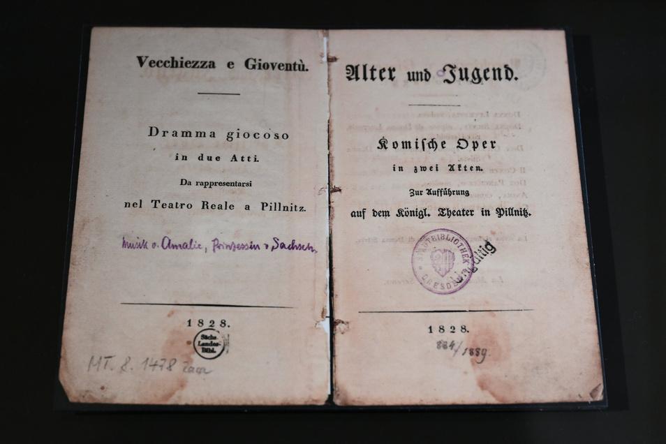 """Das Textbuch zu der Oper """"Alter und Jugend"""" für die Aufführung im Königlichen Theater Pillnitz 1828."""