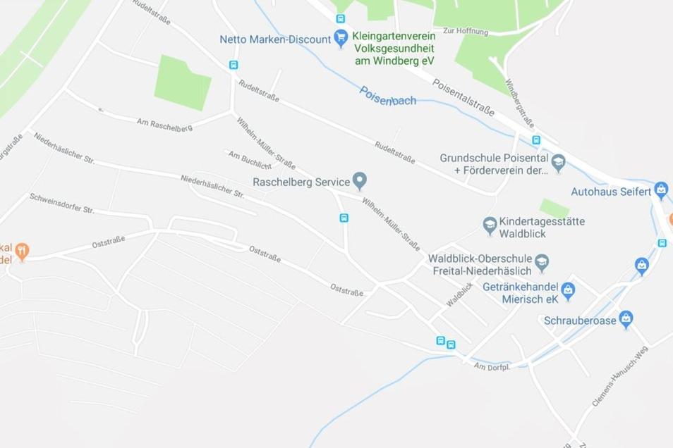 Die Niederhäslicher Straße in Freital verläuft parallel zur Poisentalstraße.