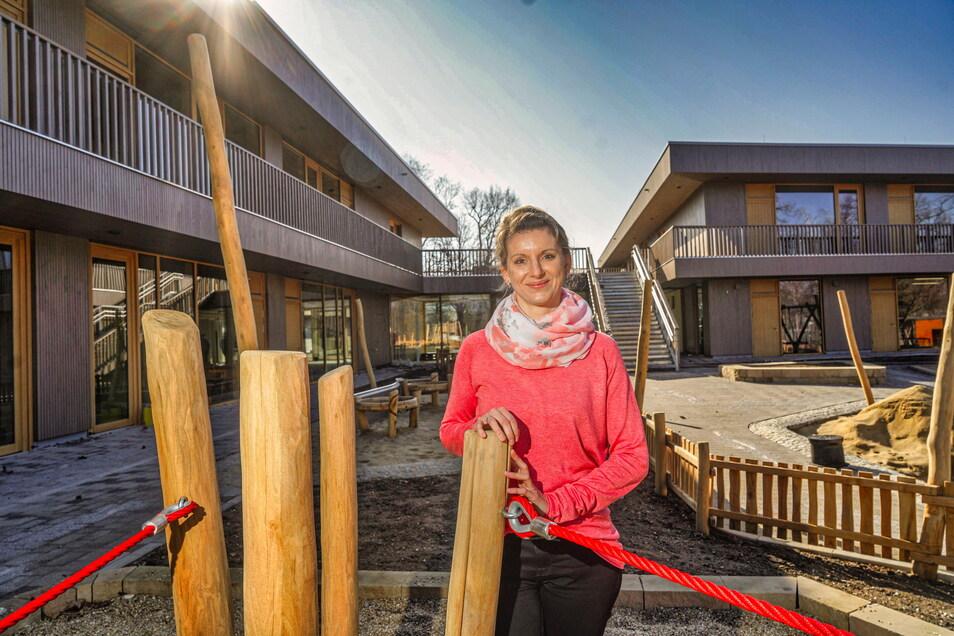 Nicole Laube ist die Leiterin der neuen Kita Purzelbaum am Bautzener Schützenplatz. An diesem Montag sind die ersten Kinder eingezogen.