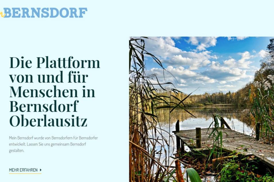 So sieht ein Ausschnitt der Startseite der unter Mithilfe von Bernsdorfer Bürgern gestalteten neuen Internet-Plattform (www.mein-bernsdorf.de) aus.