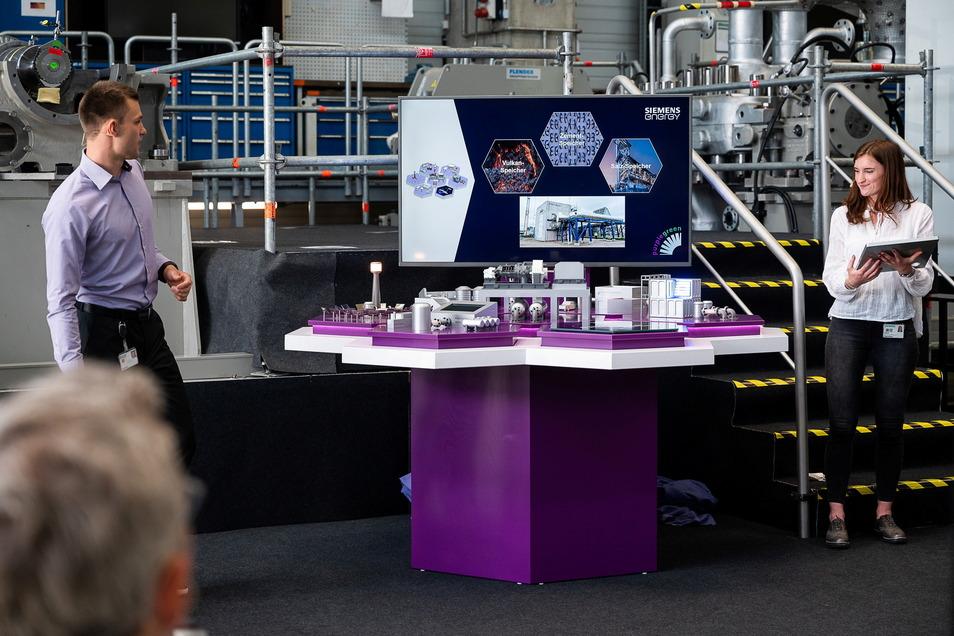 Ein Modell des Innovations-Campus von Siemens, zum Beispiel mit Solarturm, einer Wasserstoff-Produktionsanlage, thermischem Speicher, bis hin zum Wasserstoffauto - eine der Nutzungsmöglichkeiten von Wasserstoff.