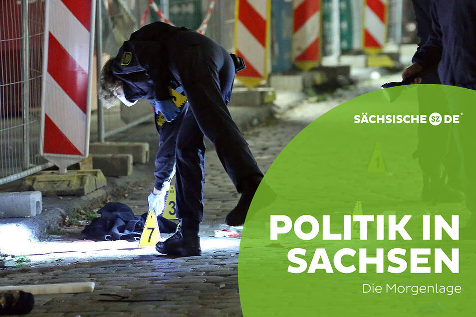 Kriminaltechniker sichern Spuren nach der tödlichen Messerattacke auf zwei Touristen am 4. Oktober in Dresden.