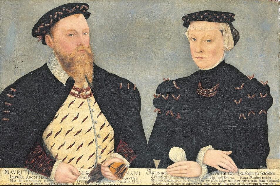 Liebe mit Hindernissen: Weil seine Eltern gegen die Verbindung waren, verlobten sich Moritz und Agnes heimlich. 1559 malte Lucas Cranach der Jüngere das Kurfürstenpaar.