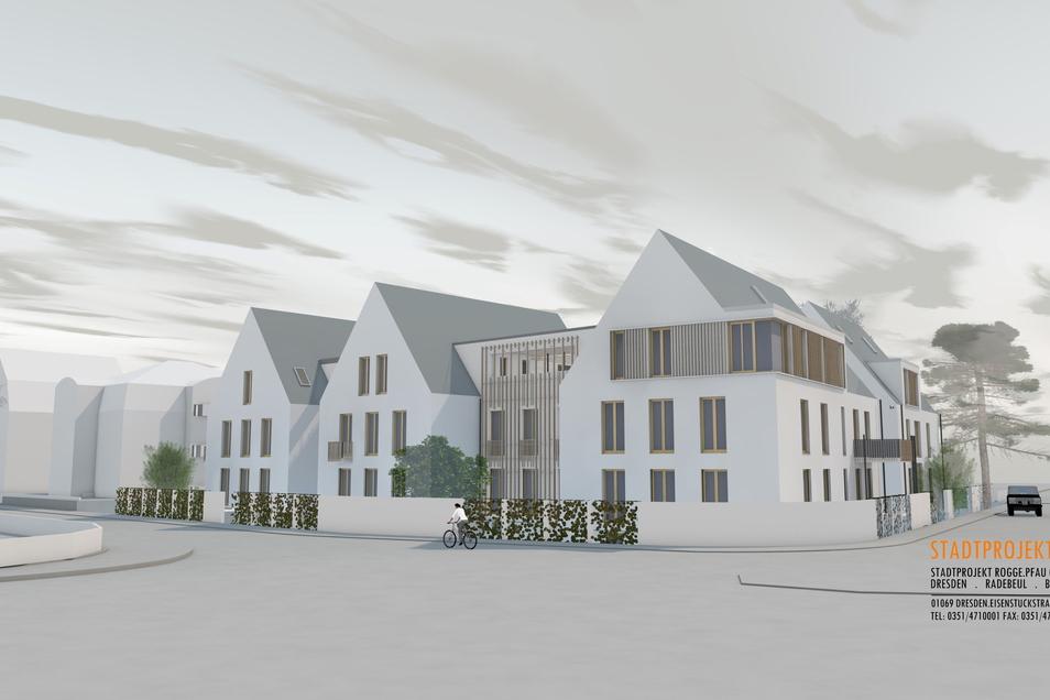 Die Visualisierung veranschaulicht, wie sich das Gebäudeensemble an der Ecke Serkowitzer, Südstraße nach Fertigstellung präsentieren wird,