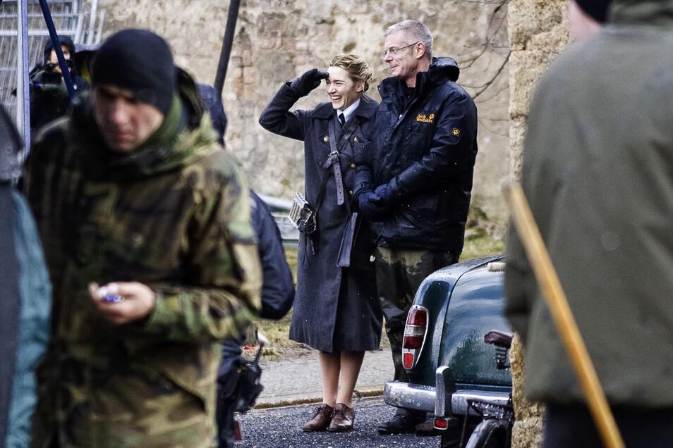 """Drehort Hotherstraße: Hier gab sich 2008 die britische Schauspielerin Kate Winslet (im Bild mit Regisseur Stephen Daldry) die Ehre, als sie hier gemeinsam """"Der Vorleser"""" drehten."""