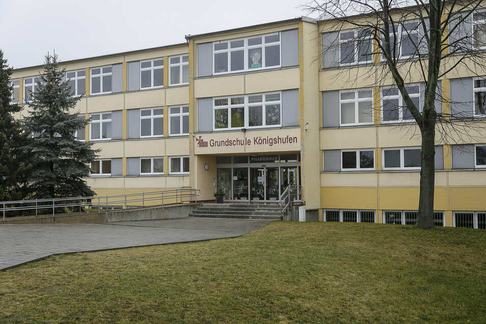 Die Grundschule Königshufen in Görlitz wird saniert. Deswegen lernen die Kinder in einem Ausweichgebäude in der Friedrich-Engels-Straße in Görlitz-Weinhübel.