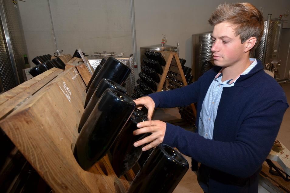 Winzer Hendrik Weber aus Meißen beim Rütteln der Sektflaschen. Der Jungunternehmer entwickelt seine Firma Schritt für Schritt weiter.