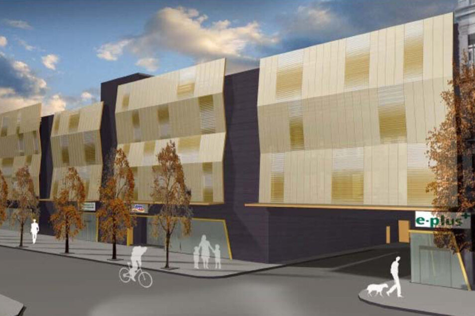 Der Entwurf zum Parkhaus in der Bautzner Straße 33 machte Hoffnung auf einen Farbtupfer in der Neustadt.