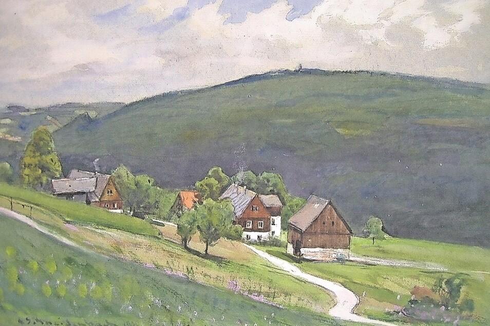 Ein Schneidenbach-Gemälde von Schellerhau am Matthäusweg.