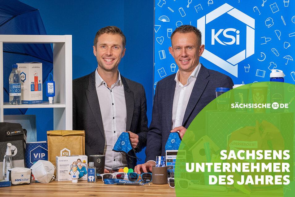 Mit dem Lockdown im März nahmen sie ihr Herz und Schutzmasken in die Hand: Danilo Schmidt und Uwe Kasper (v. l.), Chefs der KSI International GmbH in ihrer Welt aus Werbeartikeln.