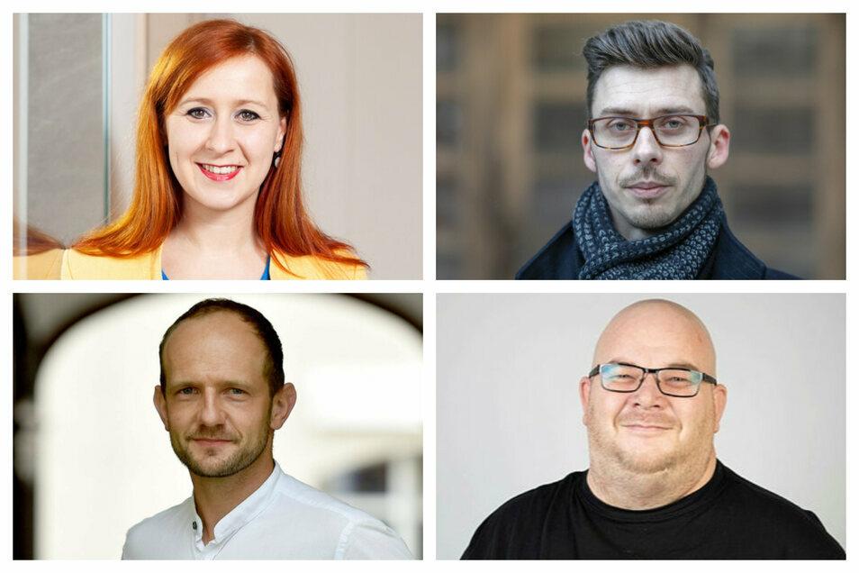 Was sagen die Landtagsabgeordneten aus dem Kreis Görlitz zur geplanten Diätenerhöhung? Franziska Schubert (Grüne), Mario Kumpf (AfD), Mirko Schultze (Linke) und Stephan Meyer (CDU) (im Uhrzeigersinn)