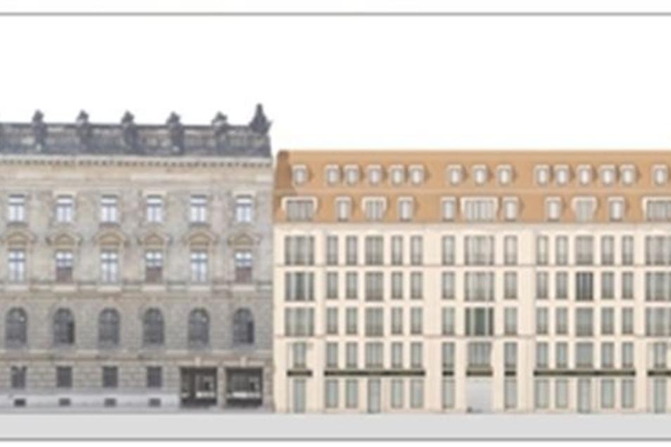 Dieser Entwurf der Häuser auf der Rampischen Straße wurde zum Wettbewerb gezeigt, worauf rechts neben dem Polizeipräsidium das Palais Riesch zu sehen ist, das soll jetzt höher werden.