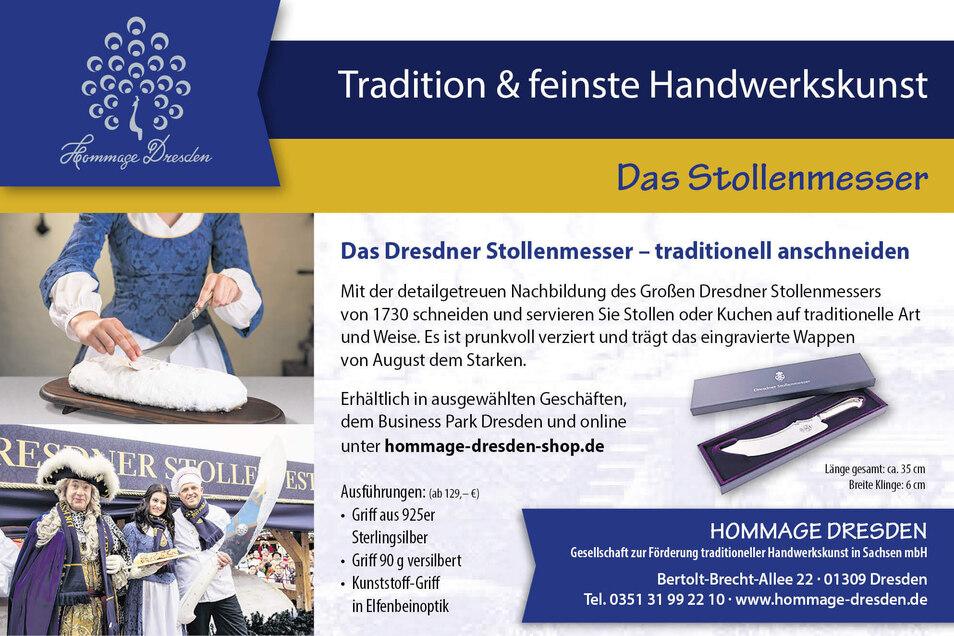 Hommage Dresden verfolgt das Ziel, Handwerks-Produkte aus Sachsen national sowie international bekannt zu machen. Heute stellt das Unternehmen mit einem hochwertigen Stollenmesser den Tagespreis unseres Advents-Gewinnspiels.