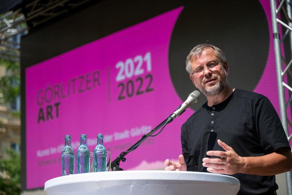 Schon zur Eröffnung der Görlitzer Art schwelte der Kunststreit. Michael Wieler ist Bürgermeister von Görlitz, war zuvor Intendant des Gerhart-Hauptmann-Theaters Görlitz.