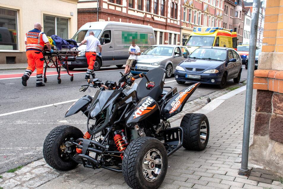 Der Quadfahrer kam nach einem Unfall in Döbeln schwer verletzt in ein Krankenhaus.