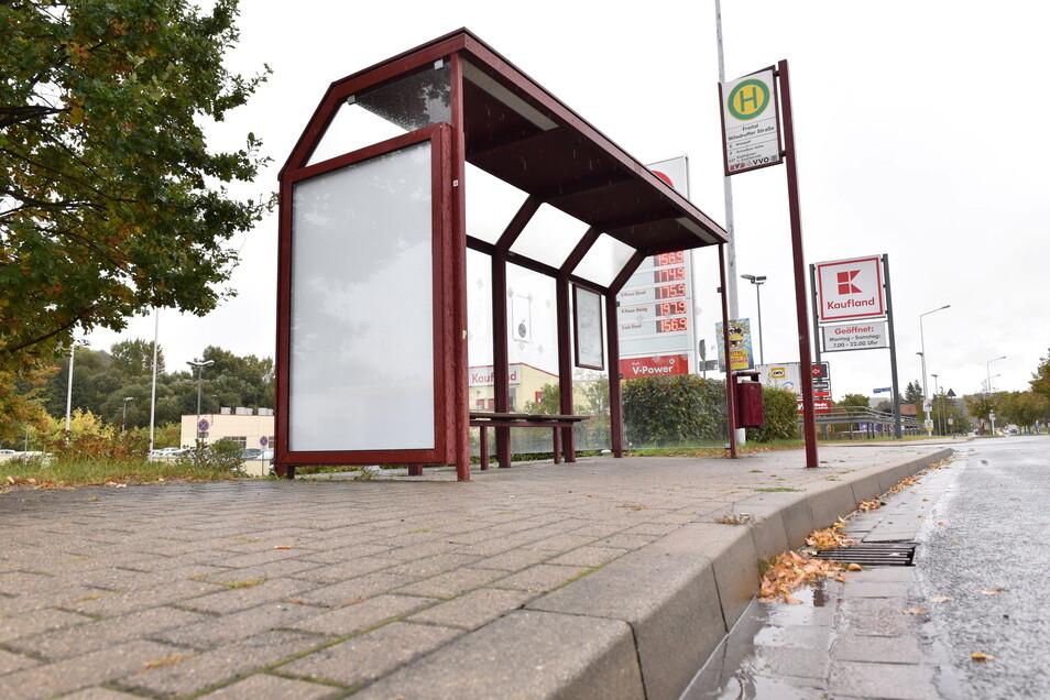 Der Bushalt an der Wilsdruffer Straße wird wie acht weitere Haltestellen barrierefrei ausgebaut.