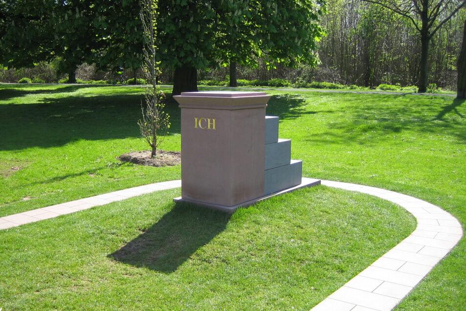 "So sieht das ""Ich-Denkmal"" in Frankfurt am Main aus."