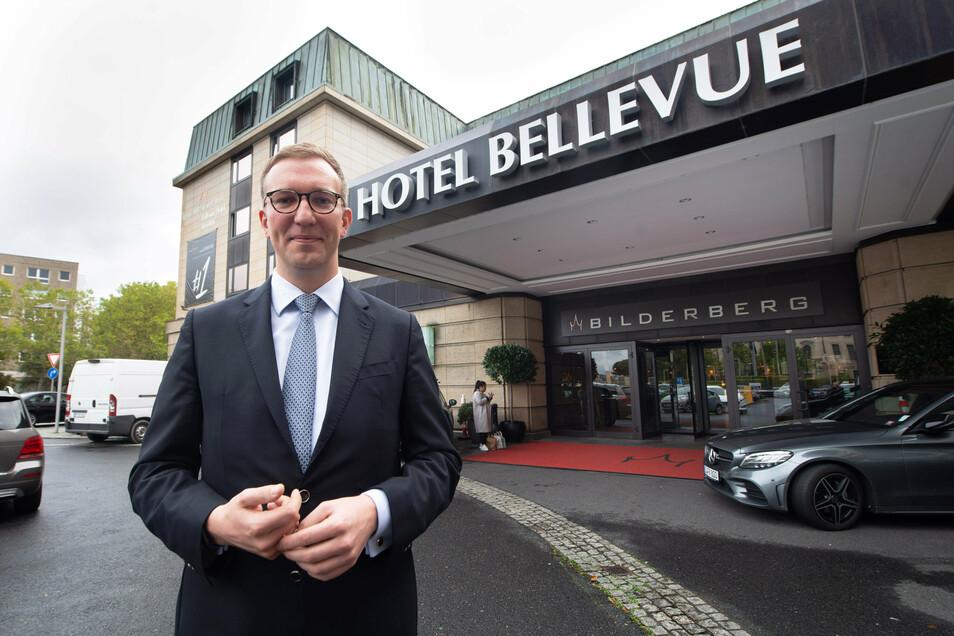 Seit sechs Jahre ist Sebastian Klink der Direktor des Bellevue Hotels, das seit Januar den Namen Bilderberg Bellevue Dresden trägt.