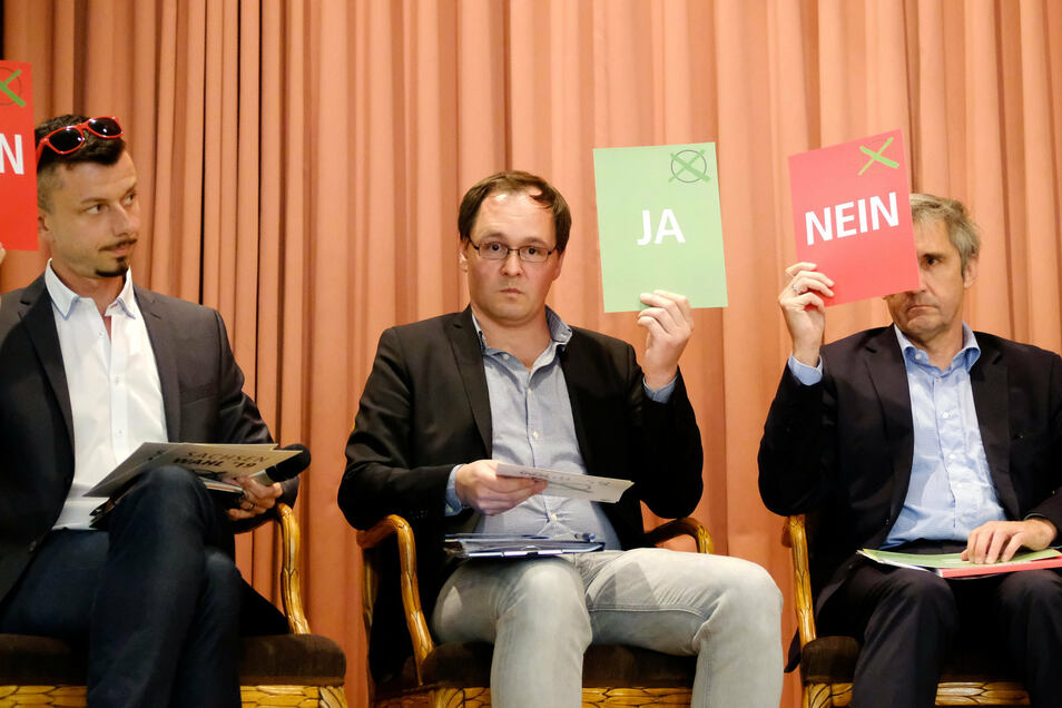 Kopfnoten? Bei der Schnellfragerunde konnten die Kandidaten nur mit Karten abstimmen: ja, nein oder Enthaltung. Tilo Hellmann (l.) und Frank Richter (r.) waren dagegen, der Rest dafür.