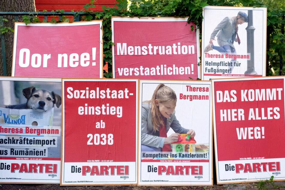 Mit diesen Plakaten geht Die Partei im Wahlkreis Meißen in den bevorstehenden Bundestagswahlkampf.