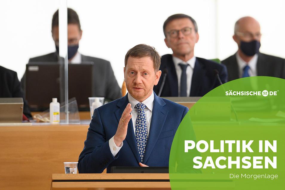 Michael Kretschmer (CDU) bei seiner Regierungserklärung zur Corona-Pandemie