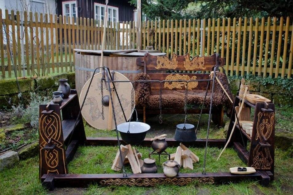 Die Wikingerküche muss die Sippe satt machen, wenn sie auf Märkten und in Museumsdörfern auftritt.