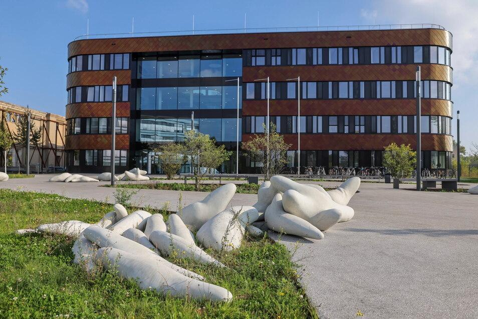 """Figuren des Ensembles """"Chorus aus Beton"""" liegen auf dem Platz vor dem Neubau des Deutschen Zentrums für integrative Biodiversitätsforschung in Leipzig."""