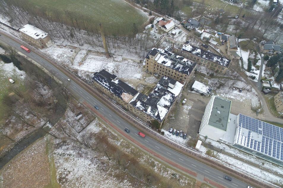 Auf Höhe der ehemaligen Hydraulik an B 170 in Dippoldiswalde