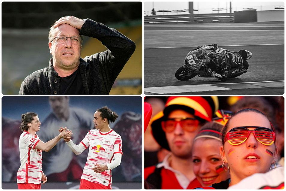 Sie prägen den sächsischen  Sportdienstag: Ex-SGD-Cheftrainer Markus Kauczinski, der verunglückte Motorradpilot Jason Dupasquier, Fußball-Fans und RB Leipig.