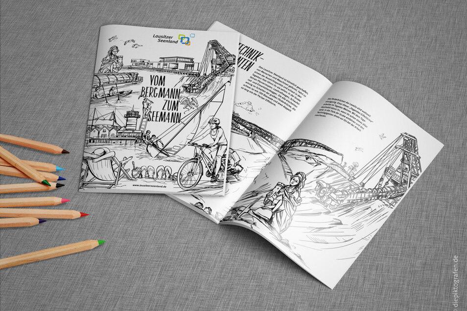 """Das Malbuch """"Vom Bergmann zum Seemann"""" verteilt der Tourismusverband Lausitzer Seenland in den Grundschulen im Verbandsgebiet und an die familienfreundlichen Gastgeber und Tourismusanbieter im Lausitzer Seenland."""